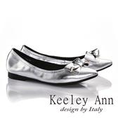 零碼 Keeley Ann 氣質蝴蝶結全真皮OL 低跟尖頭包鞋銀色Ann 系列