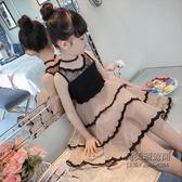 童女童公主裙子兒童連身裙蕾絲背心裙洋氣紗裙