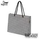 手提袋-編織方袋(L)-黑白千鳥-01C