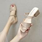 一字拖鞋女夏時尚外穿2021新款網紅ins粗跟百搭韓版外出兩穿涼拖 【快速出貨】