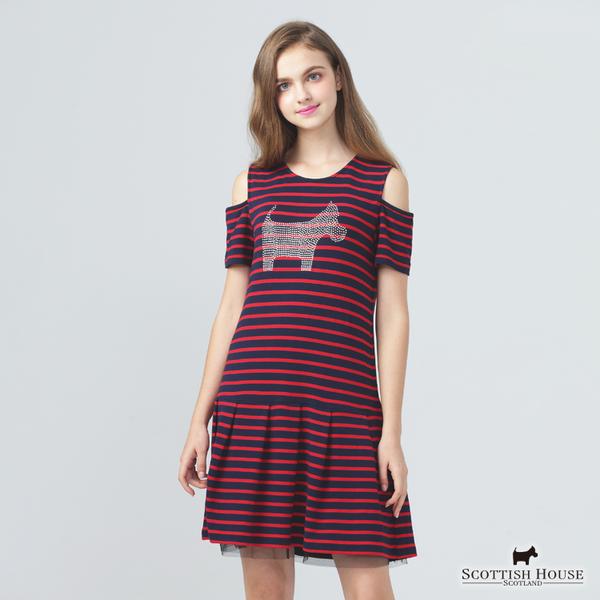 胸前大鑽狗X露肩橫條紋設計洋裝 【AE1253】