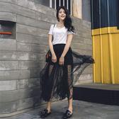 春夏網紗裙半身裙2018新款透視中長款黑色性感高腰a字圓點蓬蓬裙  良品鋪子