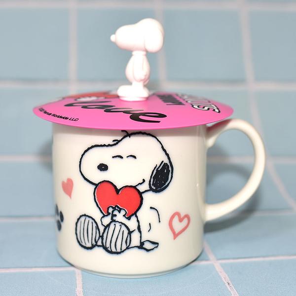 SNOOPY 史努比愛心 陶瓷馬克杯 矽膠杯蓋 正版 日本製 310ml