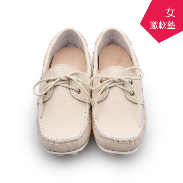 【A.MOUR 經典手工鞋】帆船豆豆 - 米 / 氣墊鞋 / 平底 / 進口小牛皮 / 超軟豆豆鞋 /DH-1208