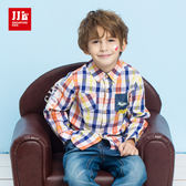 JJLKIDS 男童 法國男孩格子純棉襯衫(橙色)