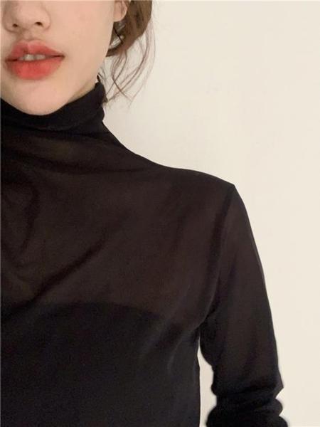 雪紡長袖2020秋季新款港味網紗打底衫女長袖雪紡防曬內搭純色長袖洋氣上衣 新品