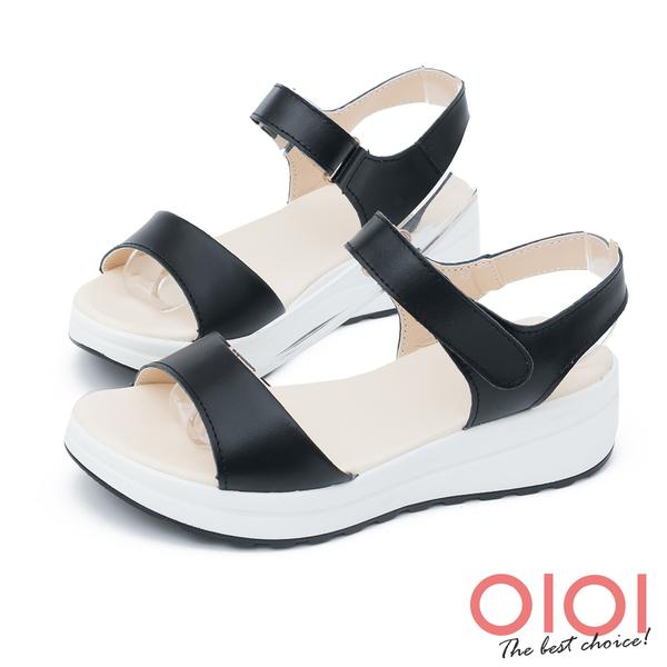 楔型涼鞋 簡約原色真皮楔型涼鞋(黑)*0101shoes【18-178bk】【現貨】