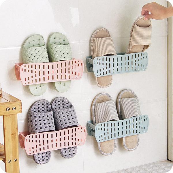 【摺疊拖鞋架】可折疊壁掛式鞋架 簡易黏貼牆壁鞋子收納架 節省空間壁面鞋架