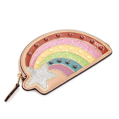 COACH NASA 繽紛彩虹鉚釘荔枝紋皮革零錢包(粉膚色)198267