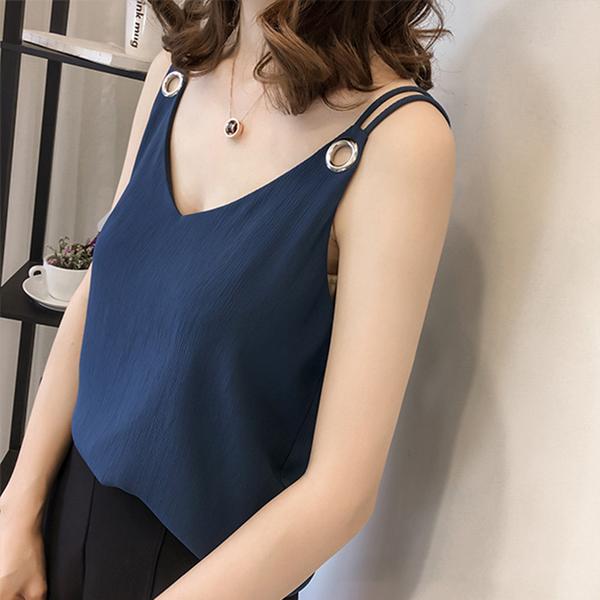 【藍色巴黎】 韓版性感百搭V領雙肩帶雪紡背心/小可愛 《4色》【28916】