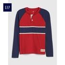 Gap男童 舒適胸前條紋亨利式長袖T恤 491322-熱情紅