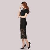 蕾絲裙(中長裙)-高腰包臀鏤空蕾絲女裙子3色73x22[巴黎精品]