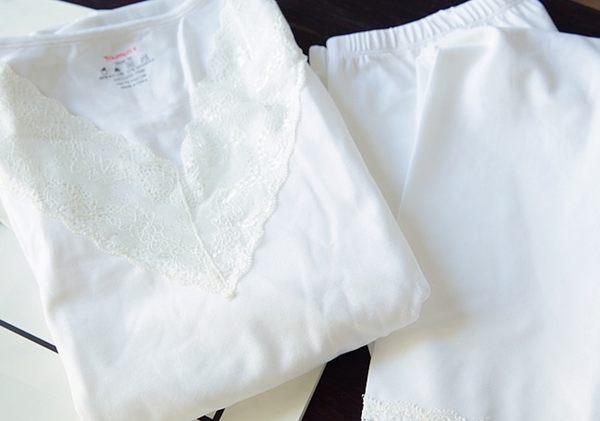 雪紡慕斯莫代爾 甜美V領寬蕾絲邊貼身睡衣 內衣套裝-1119005