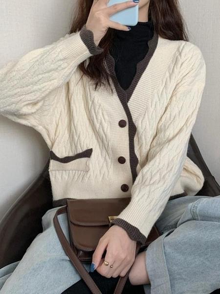 秋冬2020年新款毛衣女日繫古著慵懶風秋裝復古針織衫開衫外套上衣