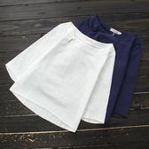春夏民族風女裝襯衫亞麻短袖T恤寬鬆棉麻七分袖百搭上衣女洛麗的雜貨鋪