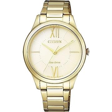 【南紡購物中心】【CITIZEN 星辰】簡約優雅光動能時尚女腕錶-香檳黃(EM0412-52P)