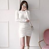 歐媛韓版 長袖洋裝 春裝新款女裝 氣質修身圓領抽褶包臀顯瘦針織打底裙連身裙