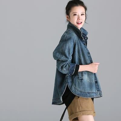 長袖牛仔襯衫外套 做舊 復古 水洗 開叉 開衫/2色W2235 - 夢想家- 0918