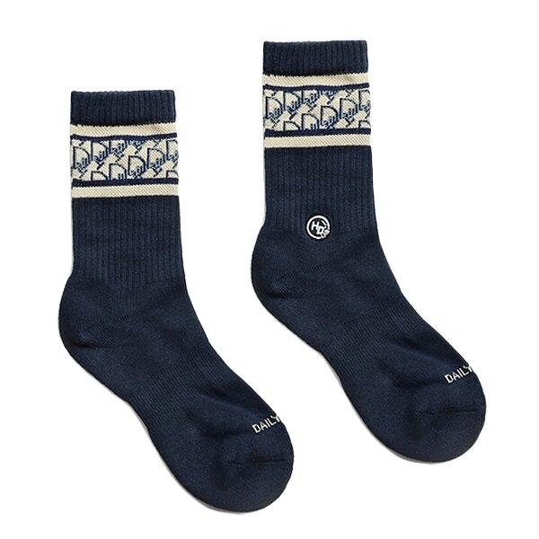 HOWDE LAB 襪子 日常研究室 LAB CLASSIC SOCKS 老花紋 深藍 銀離子抑菌抑臭纖維 男女 (布魯克林) 20SS03NV
