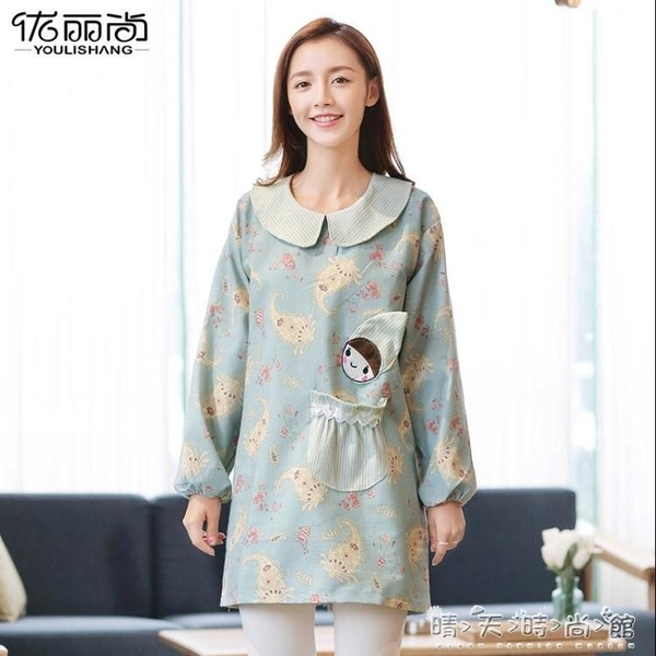 圍裙家用廚房罩衣大人女冬外套長袖防水防油做飯韓版時尚可愛日系 晴天時尚