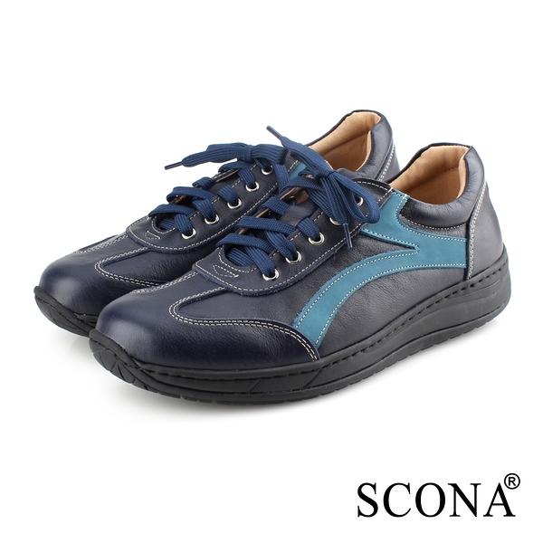 SCONA 蘇格南 全真皮 輕量高彈力綁帶休閒鞋 深藍色 1278-1