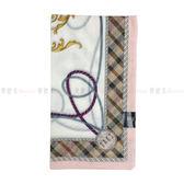 【KP】日本製 純棉手帕 DAKS 圖騰格紋粉色 日本純棉毛巾 方巾 手帕 圍巾 領巾 時尚 1808307020001
