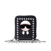 【FENDI】Karlito老佛爺鉚釘拉鏈短夾(附鏈子)(黑色) 7M0197 52P F057A