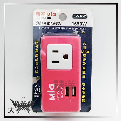 ◤大洋國際電子◢ 明家MIG 2插座(2P+3P)15A+雙USB埠 轉換插接器 SL-2231U2