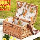 野餐籃餐具組合編織籃子-花邊裡布小屋型郊遊用品68e9【時尚巴黎】