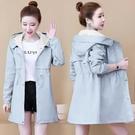 外套 風衣女裝中長款小個子秋季新款學生韓版時尚收腰休閑連帽外套T153韓衣裳