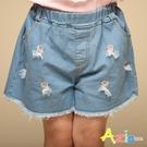 Azio 女童 短褲 立體網紗蝴蝶結棒棒糖刺繡牛仔短褲(藍) Azio Kids 美國派 童裝