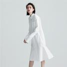 SISJEANS-白色質感魚尾襯衫洋裝【...