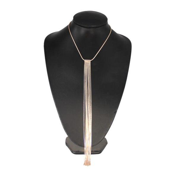歐美風夸張飾品夏季新款長流蘇優質銅頸鍊個性簡約氣質項鍊