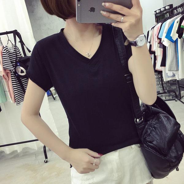 梅梅露*【55084953】素色V領短袖T恤上衣大學T