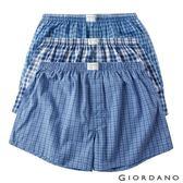 【GIORDANO】男裝純棉寬鬆平底四角褲三件裝-02 藍格子