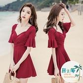 泳衣女連身泳衣女遮肚顯瘦時尚大碼連體韓國保守溫泉游泳衣 風之海