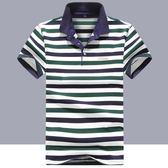 短袖Polo衫夏季短袖t恤男寬鬆大碼男士體恤打底衫條紋Polo衫男 貝兒鞋櫃