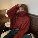 NXS 高領 麻花 毛衣 寬版 針織衫 粗針織 上衣 顯瘦 保暖 韓國