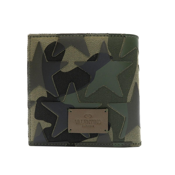 VALENTINO 范倫鐵諾 綠色迷彩帆布拼接牛皮星星造型二折式短夾Camouflage【BRAND OFF】