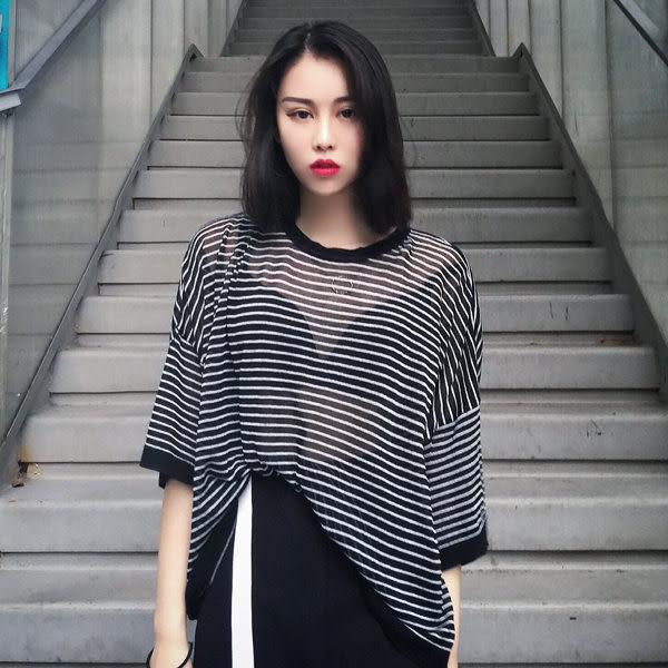 [協貿國際]性感透視短袖T恤條紋顯瘦防曬衣寬松衫上衣1入