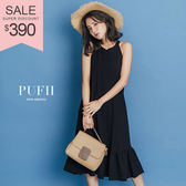 (現貨-藍底白條紋)PUFII-洋裝 削肩棉麻魚尾長洋裝連身裙 3色-0426 現+預 春【CP14485】