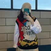 針織馬甲 趣味卡通字母拼色寬鬆無袖外搭針織背心馬甲女秋裝百搭打底衫T恤