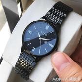 手錶 蝴蝶扣刻字手錶男士女日歷超薄防水夜光石英情侶手錶一對非機械表 莫妮卡小屋