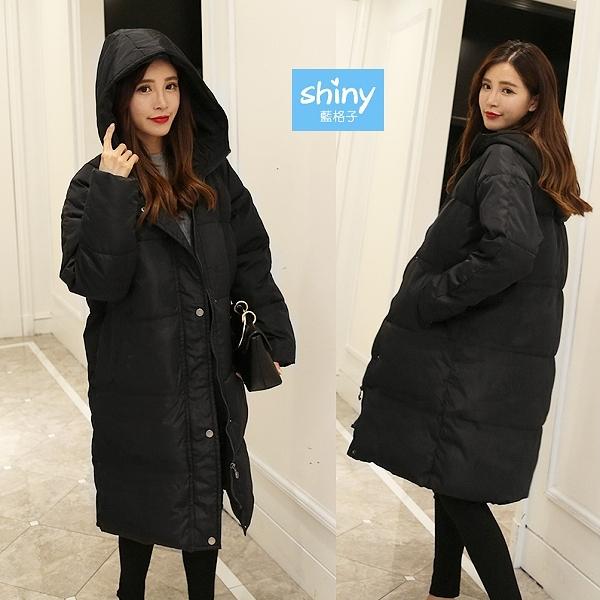 【V9148】shiny藍格子-冷冬陪伴.冬季保暖夾絨棉中長款外套