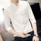 男士七分袖襯衫薄款韓版修身潮流休閒發型師白色短袖襯衣男 小宅君嚴選