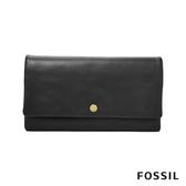FOSSIL AUBREY 金釦設計多功能零錢長夾-黑色 SL7811001