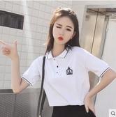 T恤衫polo襯衫短袖女2019新款韓版寬鬆學生百搭早春裝t恤ins潮上衣