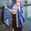 現貨 甜星飾品 歐美幾何線條雙面仿羊毛流蘇保暖 圍巾 披肩 【藍灰】