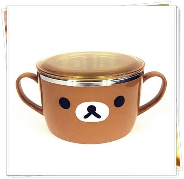 拉拉熊 懶熊 附蓋 304不鏽鋼 雙耳碗 大碗 奶爸商城 464056