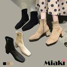 靴子-時尚韓流方頭拉鍊短靴